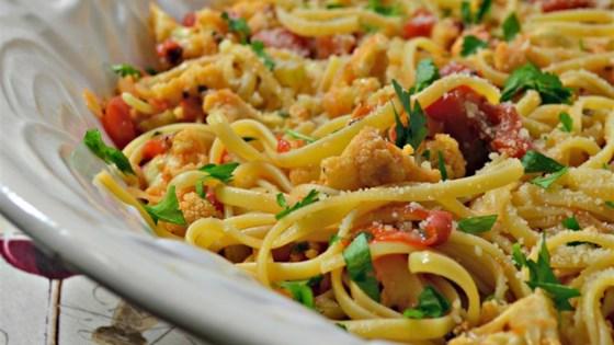 Photo of The Fridge Scavenger's Tomato and Cauliflower Pasta by Seth Kolloen