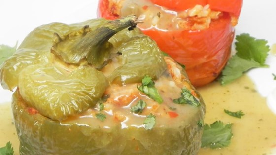 Chorizo-Stuffed Peppers with Green Chile Ranchero Sauce
