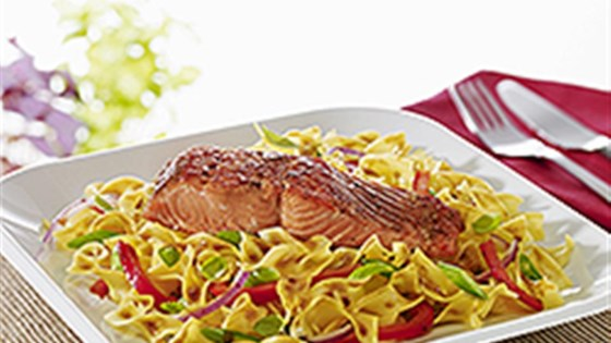 NO YOLKS® Maple Balsamic Glazed Salmon with Noodles