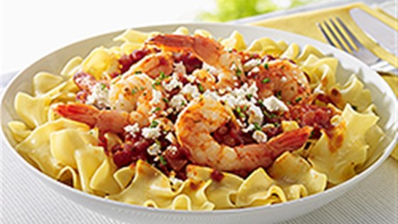 Photo of NO YOLKS® Saucy Shrimp Noodles with Feta by NO YOLKS® Noodles