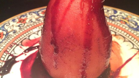 Red Wine Poached Pears with Chocolate Filling
