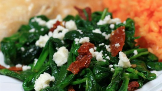 Photo of Christoph's Mediterranean Spinach and Sun Dried Tomato Dish by Amy37