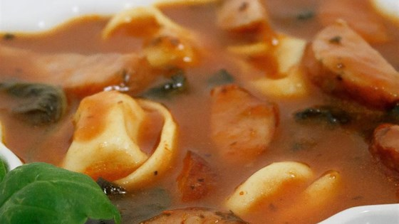 Photo of Easy Sausage and Tortellini Soup by Melissa Goff