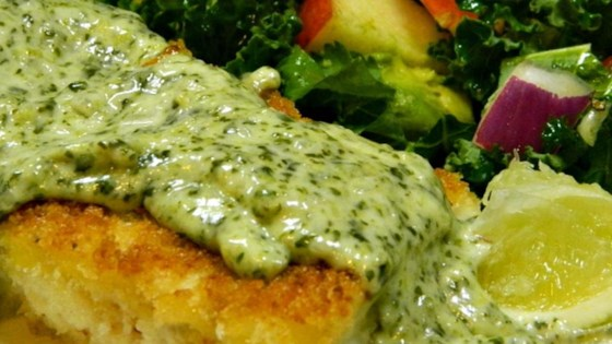 Photo of Panko Crusted Halibut with White Serrano and Cilantro Sauce by Andrea S