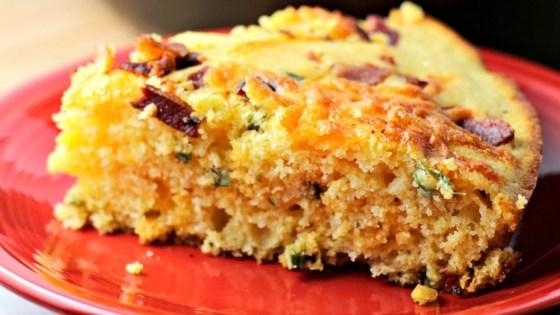 Photo of Cheesy Bacon Jalapeno Skillet Cornbread by Megan