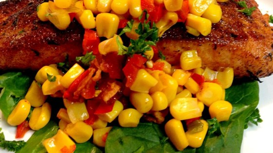Photo of Grilled Salmon with Bacon and Corn Relish by Chef John