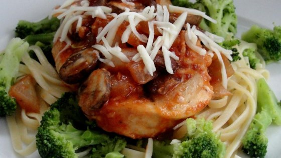 Photo of Chicken Parmesan with Linguine and Broccoli by KRAFT Grated Parmesan Cheese