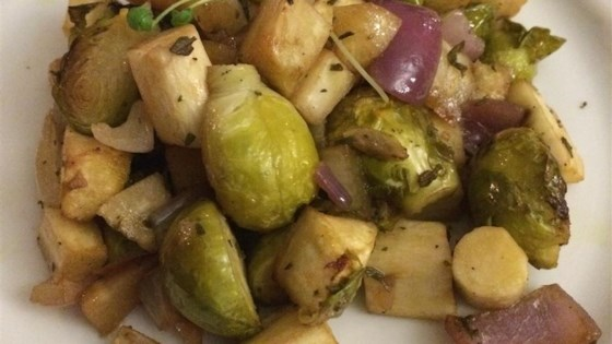 Roasted Brussels Sprouts and Parsnips