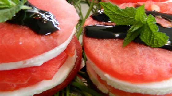 Photo of Shrimp Goat Cheese Watermelon Salad Stack by Noodles156