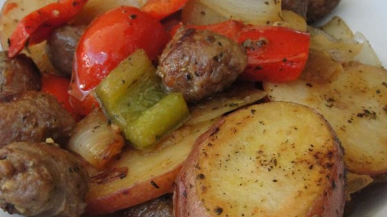 Photo of Sausage, Peppers, Onions, and Potato Bake by Beccabo73