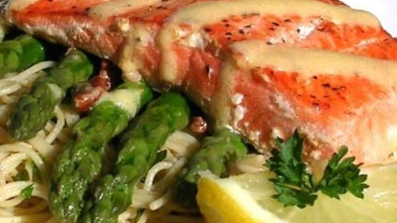 Photo of Salmon With  Dijon Butter Sauce, Asparagus and Herb Butter Angel Hair Pasta by Jen Schumacher