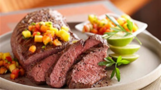 Photo of Grilled Beef Tri-Tip with Tropical Fruit Salsa by Beef. It's What's For Dinner.