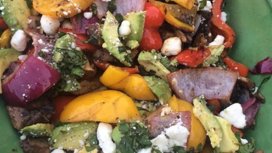 Great Grilled Smoky Vegetables with Avocado and Goat Cheese Crumbles
