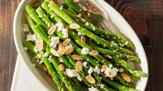 Honey Almond Asparagus with Feta Cheese Course Recipe