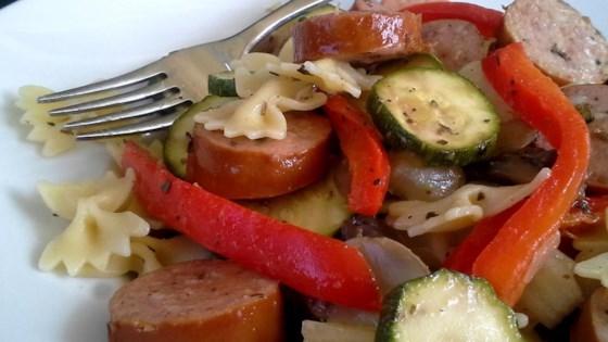 Sausage Stir Fry with Bow Tie Pasta