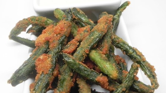 Photo of Green Bean Fries with Cucumber Wasabi Dip by KitchenWitch