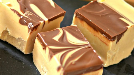 Photo of Microwave Peanut Butter Chocolate Swirl Fudge by cross