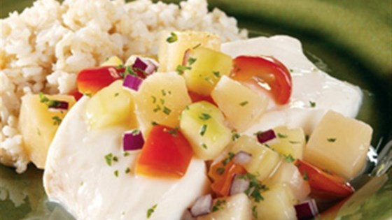 Photo of Poached Halibut with Chunky Pineapple Salsa by Swanson®