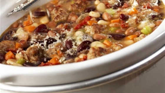 Slow Cooker Hearty Mixed Bean Stew with Sausage