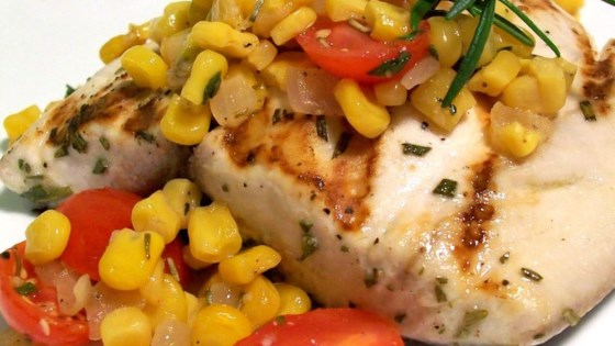Photo of Rosemary Marlin with Roasted Corn and Tomato Relish by Vella