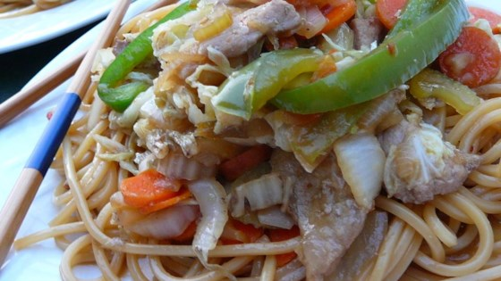 Photo of Sweet and Spicy Pork and Napa Cabbage Stir-Fry with Spicy Noodles by thriftybob