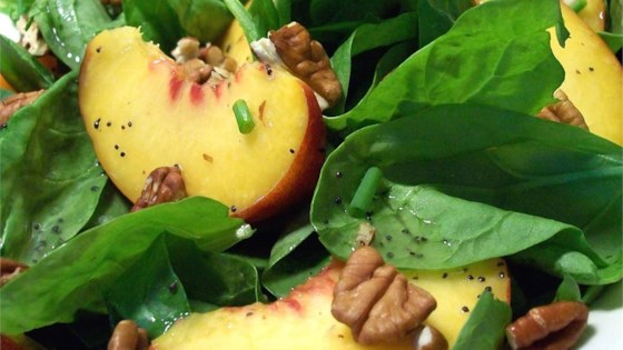 Photo of Spinach Salad with Peaches and Pecans by Robin Durawa