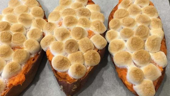 Twice-Baked Sweet Potatoes with Browned Butter and Toasted Marshmallows Recipe