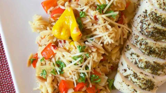 Photo of Orzo-Rice Pilaf with Patty Pan Squash and Bell Pepper by RainbowJewels