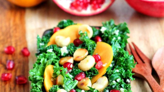 Photo of Persimmon, Pomegranate, and Massaged Kale Salad by VeggieCravings