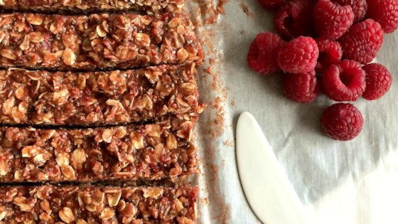 Photo of No-Bake Raspberry Peanut Butter Granola Bars by Megan Olson