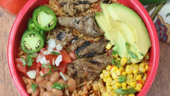 Photo of Sizzling Steak Burrito Bowl by Culinary Envy
