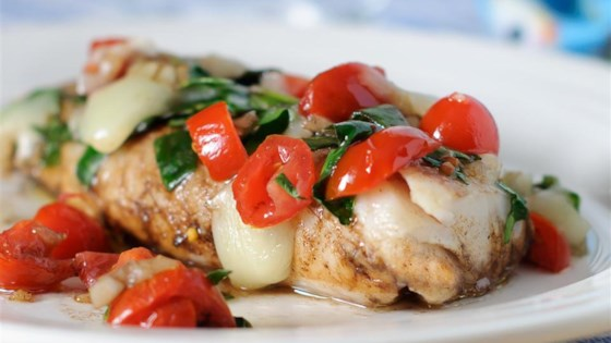 Photo of Grilled Cod with Spinach and Tomatoes by tcasa