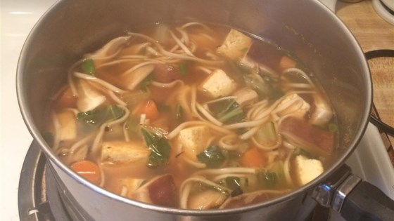 Photo of Vegan Udon Noodles Soup with Tofu and Vegetables by Seema Jain