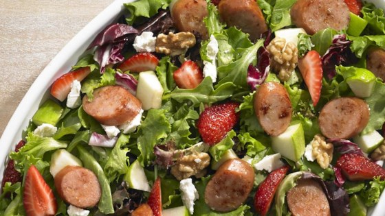 Photo of Johnsonville Strawberry and Apple Chicken Sausage Salad by From the Kitchen at Johnsonville Sausage