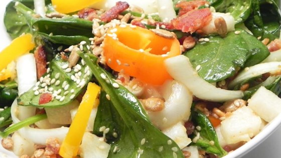 Sweet and Sour Spinach Jicama Salad