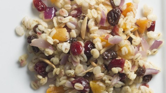 Photo of Warm Jeweled Barley Salad with Honey-Mustard Dressing by Kempstr