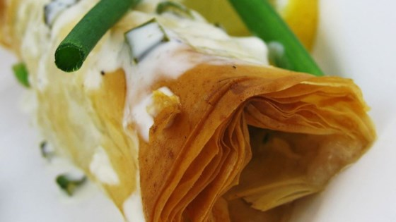 Photo of Phyllo-Wrapped Halibut Fillets with Lemon Scallion Sauce by JAYDA