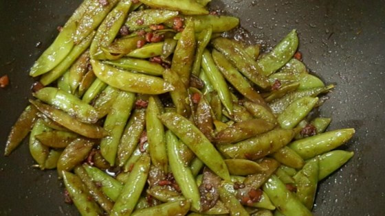 Photo of Bacon and Balsamic Glazed Sugar Snap Peas by jonnyd523