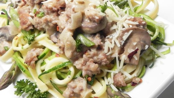 Photo of Fettuccine and Zoodles Topped with Chicken Sausage, Asparagus, and Mushrooms by abby hall