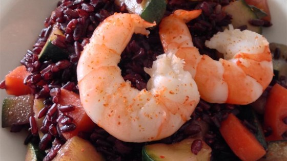 Photo of Riso Venere ai Gamberetti e Zucchini (Venus Black Rice with Prawns and Zucchini) by Aldo