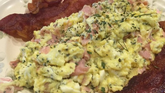 Photo of Ham, Basil, and Feta Scrambled Eggs by STEVEANDANGELA