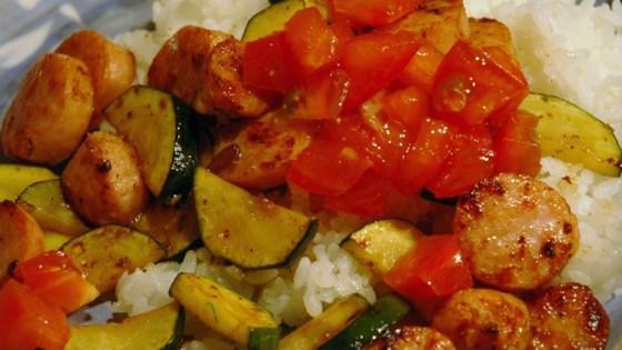 Photo of Smoked Sausage and Zucchini Saute by LARIPIN