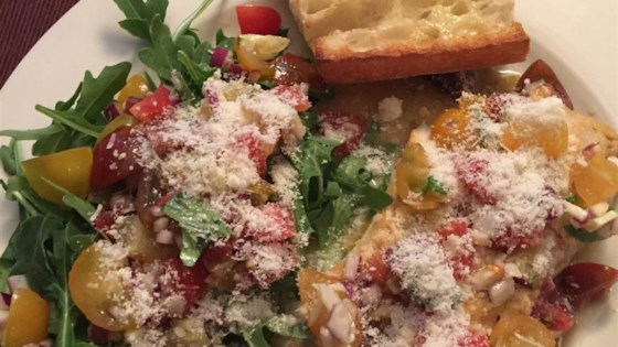 Photo of Parmesan Black Cod with Arugula and Tomato Topping by Richard Denker