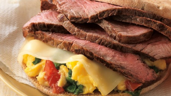 Photo of Beef and Spinach Breakfast Sandwich by Beef. It's What's for Dinner.