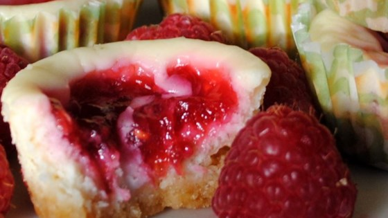 Photo of Key Lime Cheesecakes with Raspberry Swirls by Jessica