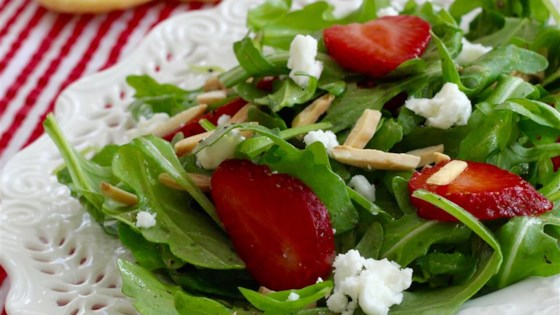 Photo of Arugula and Strawberry Salad with Feta Cheese by acali07