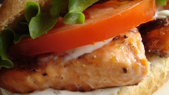 Photo of Grilled Salmon Sandwich with Dill Sauce by cathy a.