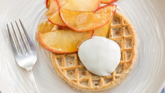 Waffles with Caramelized Apples and Yogurt