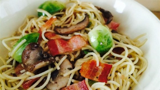 Photo of Bacon, Brussels Sprouts, and Mushroom Linguine by Nicole Berger
