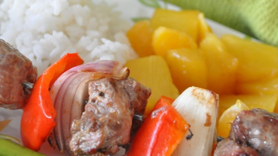 Photo of Orange Beef Kabobs with Grilled Fruit by CC<3's2bake